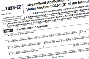 IRS form 1023EZ was introduced in 2014 and allows for streamlined application for federal tax exemption.