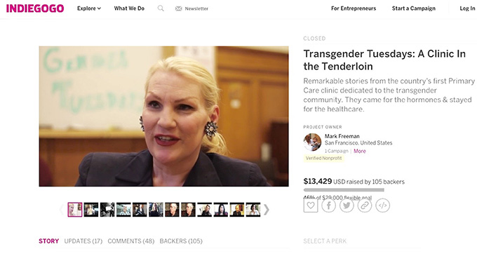 "Indiegogo fundraising page for the documentary film ""Transgender Tuesdays"""
